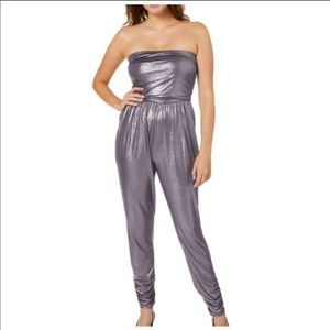 🎈COMING SOON!🎈Metallic strapless jumpsuit silver